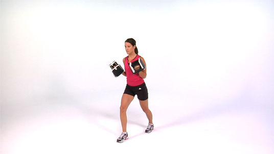Curl to Overhead Press - Scissor Stance Alternating Dumbbell