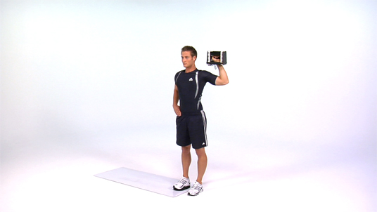 Lateral Lunge to Overhead Press - 1 Arm Dumbbell (Slide)