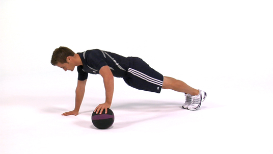 Push-up - Alternating Medicine Ball