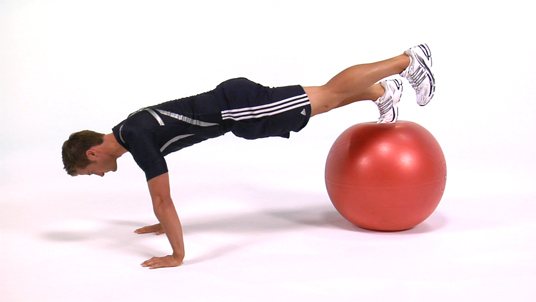 Push-up (One Foot on Stability Ball)