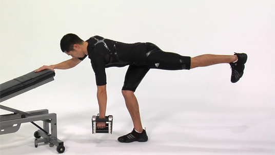 Row - 1 Arm / 1 Leg Contralateral Dumbbell